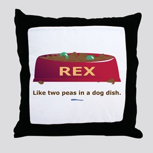 in a Dog Dish Throw Pillow