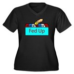 Ballot Fed Up Women's Plus Size V-Neck Dark T-Shir