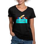Ballot Fed Up Women's V-Neck Dark T-Shirt
