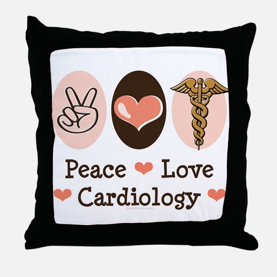 Peace Love Cardiology Throw Pillow