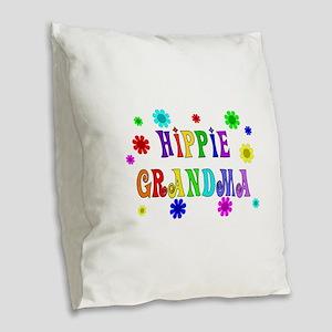 Hippie Grandma Burlap Throw Pillow