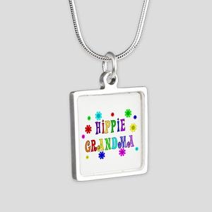 Hippie Grandma Silver Square Necklace