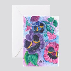 Bags greeting cards cafepress pansy garden greeting card m4hsunfo