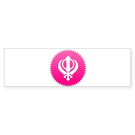 Pink Khanda design Bumper Sticker