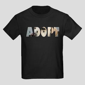 Adopt Dog Cut-Out Kids Dark T-Shirt