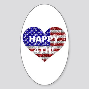 HAPPY 4TH Oval Sticker