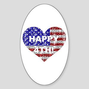 HAPPY 4TH Oval Sticker