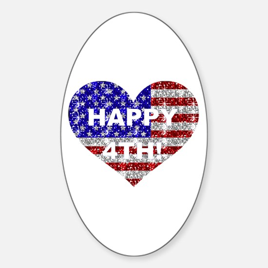 HAPPY 4TH Oval Decal