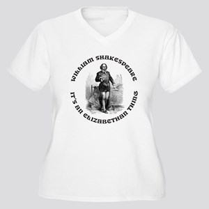 WILLIAM SHAKESPEARE T-SHIRTS Women's Plus Size V-N