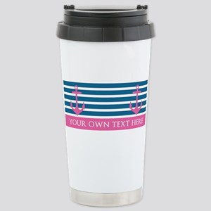 Personalized Text Anchor And Stripes Mugs