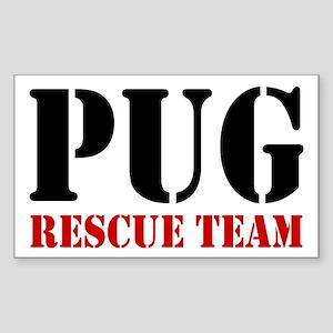 Pug Rescue Team Rectangle Sticker