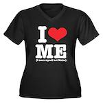 I Love ME Women's Plus Size V-Neck Dark T-Shirt