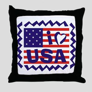 I LOVE USA Throw Pillow