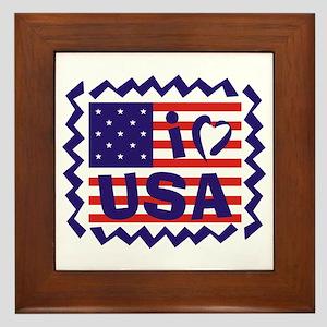 I LOVE USA Framed Tile