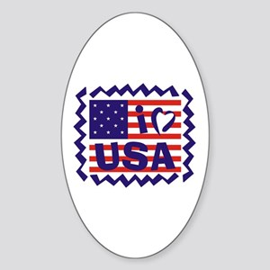 I LOVE USA Oval Sticker