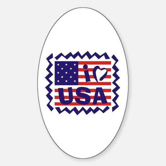 I LOVE USA Oval Decal