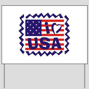I LOVE USA Yard Sign