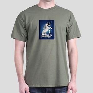 Blue Rearing Guardian Unicorn Dark T-Shirt