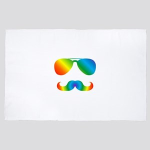 Pride sunglasses Rainbow mustache 4' x 6' Rug