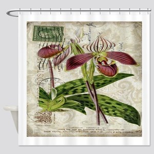 vintage orchid french botanical Shower Curtain