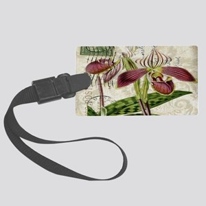 vintage orchid french botanical Large Luggage Tag