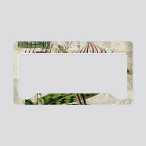 vintage orchid french botanic License Plate Holder