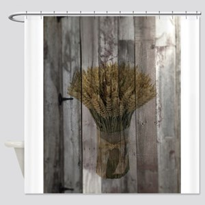 barnwood wheat western country Shower Curtain