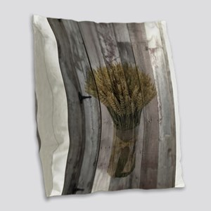 barnwood wheat western country Burlap Throw Pillow