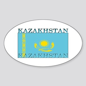 Kazakhstan Kazakhstani Flag Oval Sticker