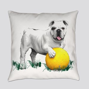 Bulldog with Yellow Soccer Ball Everyday Pillow