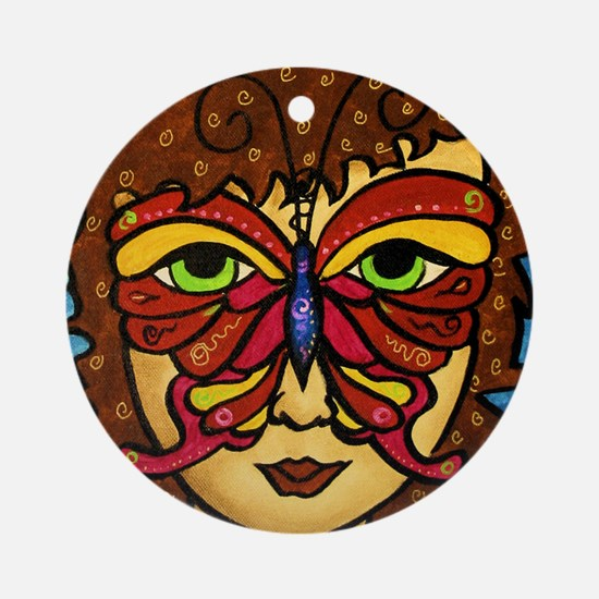 Butterfly Mask Ornament (Round)