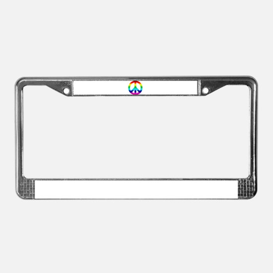 Rainbow Peace Sign License Plate Frame