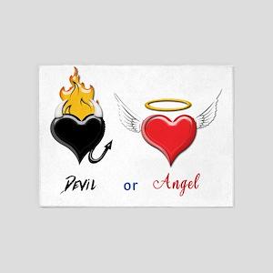 Devil or Angel Heart Logos Text 5'x7'Area Rug