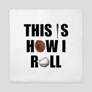 Baseball How I Roll Queen Duvet