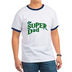 Lightning Bolt Font Super Dad Ringer T