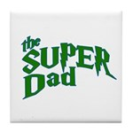 Lightning Bolt Font Super Dad Tile Coaster