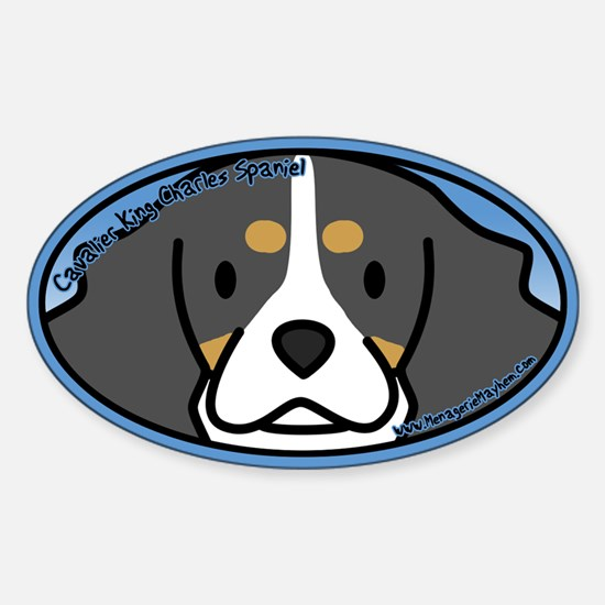 Anime Tri Cavalier King Charles Oval Decal