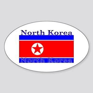 North Korea Korean Flag Oval Sticker