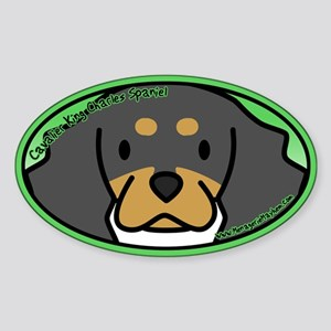 Anime B&T Cavalier King Charles Oval Sticker