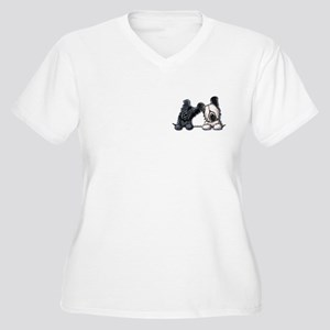 Skye Terrier Pocket Duo Women's Plus Size V-Neck T