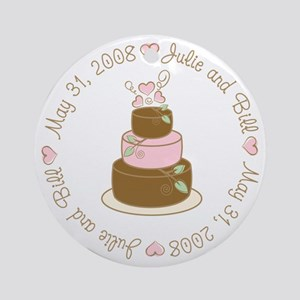 Julie and Bill May 31, 2008 Cake Ornament (Round)