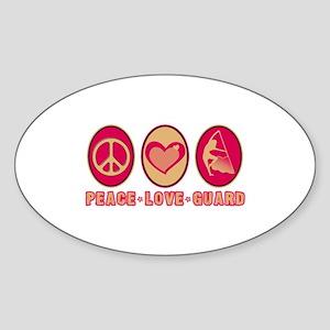 PEACE - LOVE - GUARD Oval Sticker
