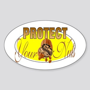 Protect your nuts Oval Sticker