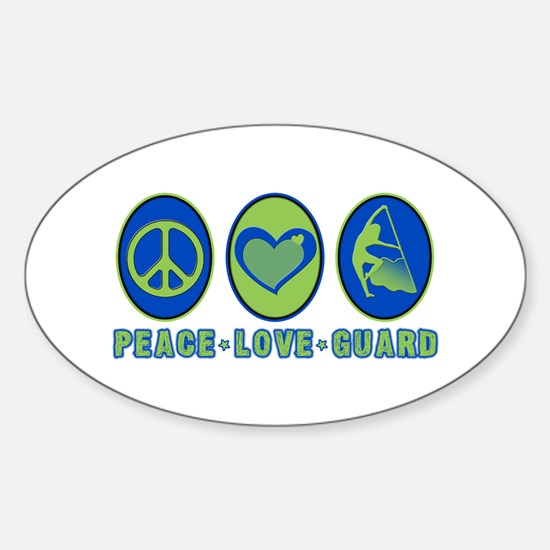 PEACE - LOVE - GUARD Oval Decal