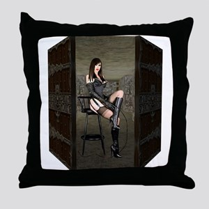 Dungeon Door Dominatrix Throw Pillow