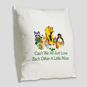 Peace Animals Burlap Throw Pillow
