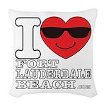 I Love Fort Lauderdale Beach Woven Throw Pillow