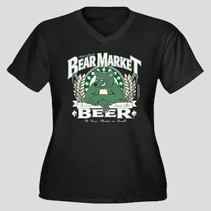 Bear Market Beer Women's Plus Size V-Neck Dark T-S