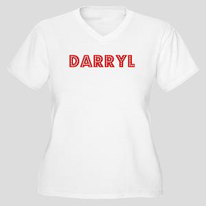 Retro Darryl (Red) Women's Plus Size V-Neck T-Shir