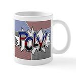Halftone Poly Typography Mugs